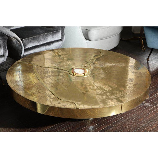 Agate Spectacular Round Etched Brass Cocktail Table with Agate Stone For Sale - Image 7 of 9