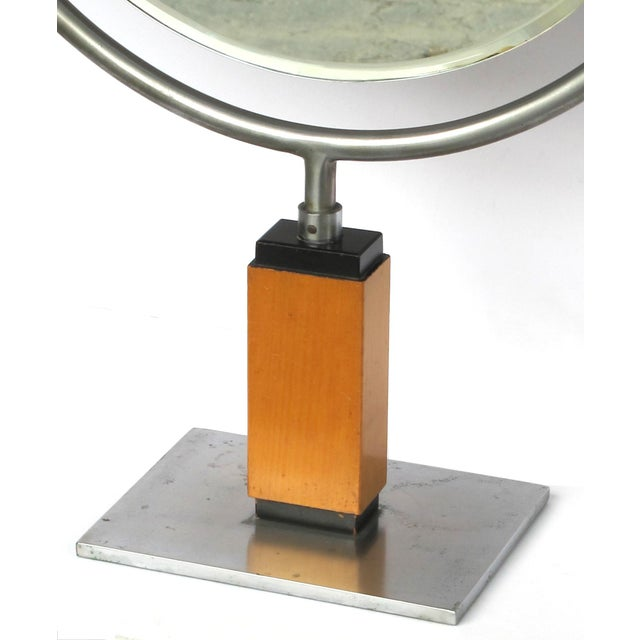 A Chic American Art Deco 1930's Steel Dressing Mirror Raised on a Maplewood Base With Ebonized Highlights For Sale - Image 4 of 7