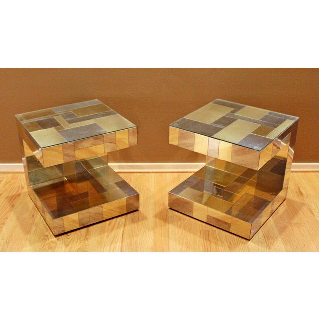 For your consideration is a wonderful pair of nightstands or side tables, made of patchwork brass and chrome and with...
