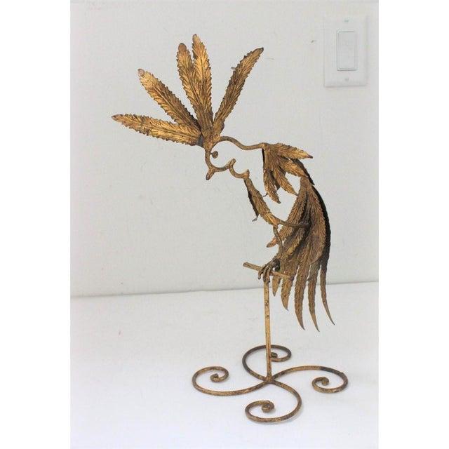 Mid-Century Modern Plumed Bird Figure in Florentine Gold Leaf For Sale - Image 13 of 13