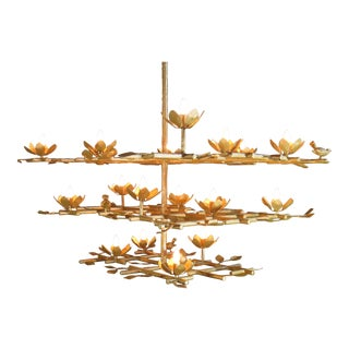 3 Layer Garden Plaster Chandelier With Gold Finish For Sale