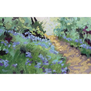 """""""Path Through Bluebells"""" Contemporary Impressionist Style Landscape Acrylic Painting For Sale"""