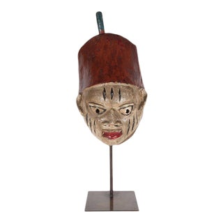 Painted Head Crest Mask on Mount, Probably Yoruba, Nigeria, 20th Century For Sale