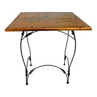 Art Nouveau Upcycled Weathered Wood & Wrought Iron Side Table For Sale