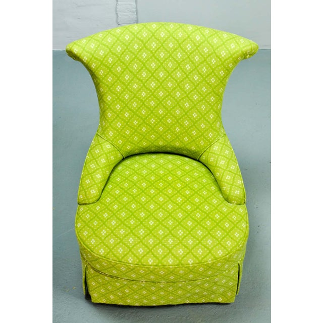 Fine pair of French Design Napoleon III Style Lime Green Boudoir / Slipper Chairs, 1900s For Sale - Image 11 of 12