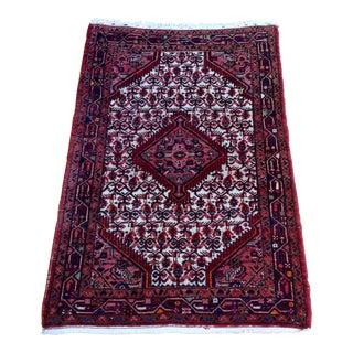 1950s' Hamadan Maroon Wool Rug - 3′6″ × 5′5″