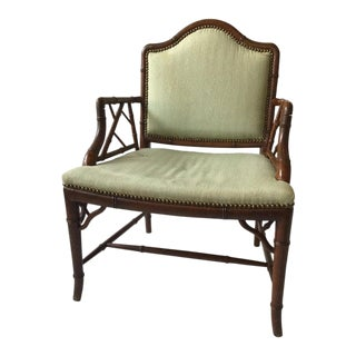 1970s Oversized 'Very Wide' Faux Bamboo Armchair For Sale