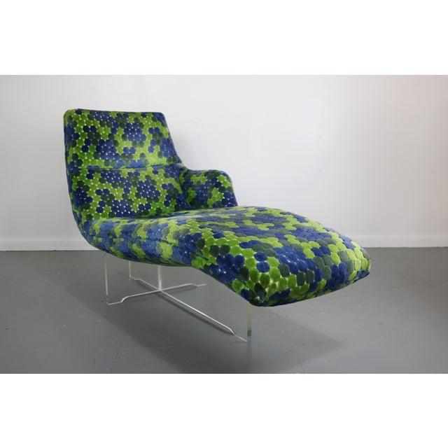 Vladimir Kagan Erica Lucite & Original Fabric Chaise - Image 5 of 8