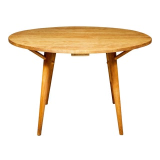 1950s Round Maple Wood Dining Table For Sale