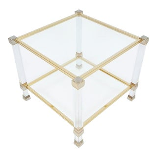 Pierre Vandel Lucite and Brass Signed Side Table, Paris, 1970 For Sale