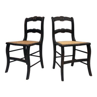 Pair Vintage Rustic Cane Seat Chairs For Sale