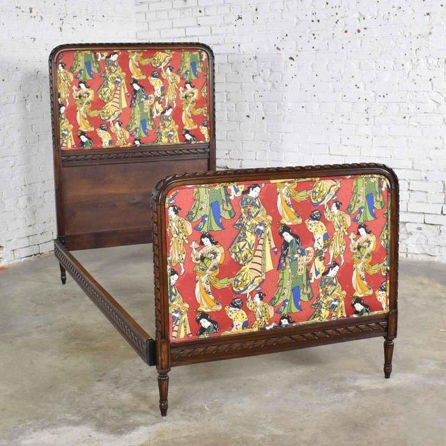 Antique French Carved Walnut and Upholstered Twin Bed With Asian Figural Fabric For Sale - Image 13 of 13