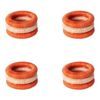 Stripe Sisal Napkin Rings Papaya & Blush