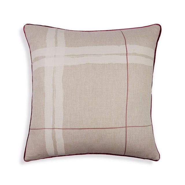 "Brushstroke Plaid 22"" Pillow, Cream - Image 2 of 4"