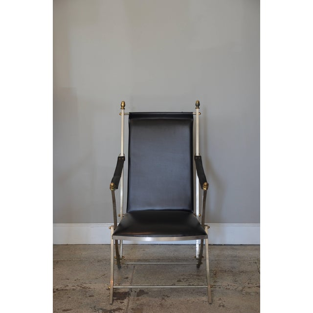 Black Pair of Chic Folding Campaign Armchairs in the Style of Maison Jansen For Sale - Image 8 of 8