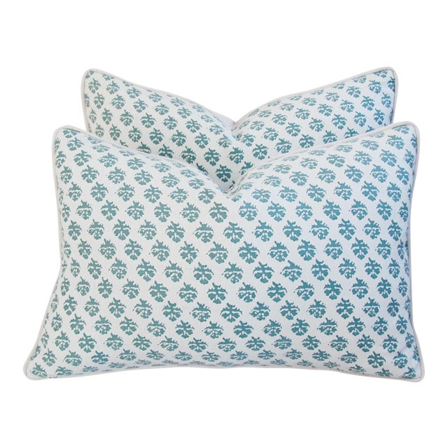 Custom Tailored Designer Italian Fortuny Persiano Pillows - A Pair For Sale