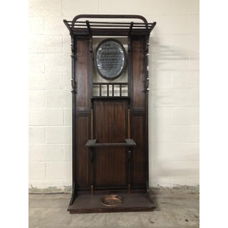 Antique Mahogany Hall Tree With Bevel Mirror Preview