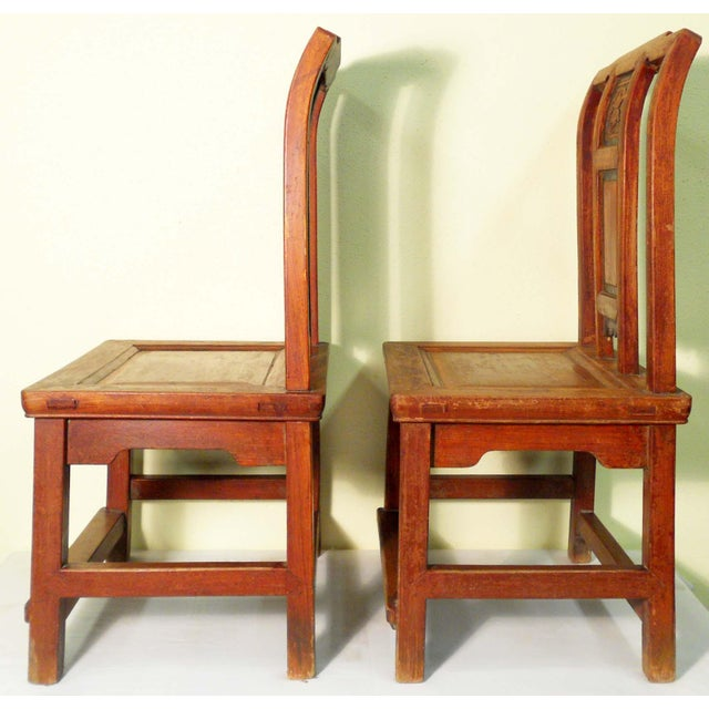 Antique Chinese Zelkova Wood Children Chairs - a Pair For Sale In Dallas - Image 6 of 7
