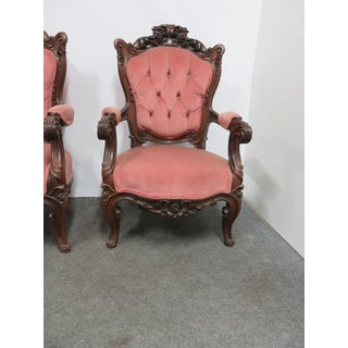 Victorian Rosewood Rose Carved Arm Chairs - a Pair Preview