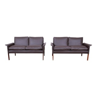 Hans Olsen Danish Modern Rosewood and Leather Settees, Fully Restored - a Pair For Sale