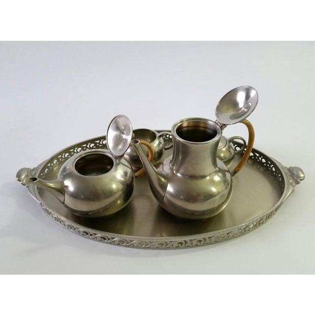 Silver 1960s Vintage Royal Holland Pewter Tea Serving Set For Sale - Image 8 of 11
