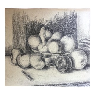 Bowl of Plenty Still Life Charcoal Drawing 1958