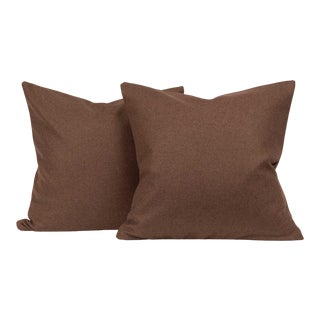 Chevalier Wool Walnut Throw Pillow Cover (Pair) For Sale