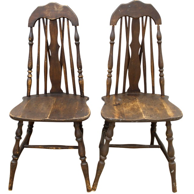 Antique Splat Tapered Back Windsor Chairs - A Pair For Sale - Antique Splat Tapered Back Windsor Chairs - A Pair Chairish