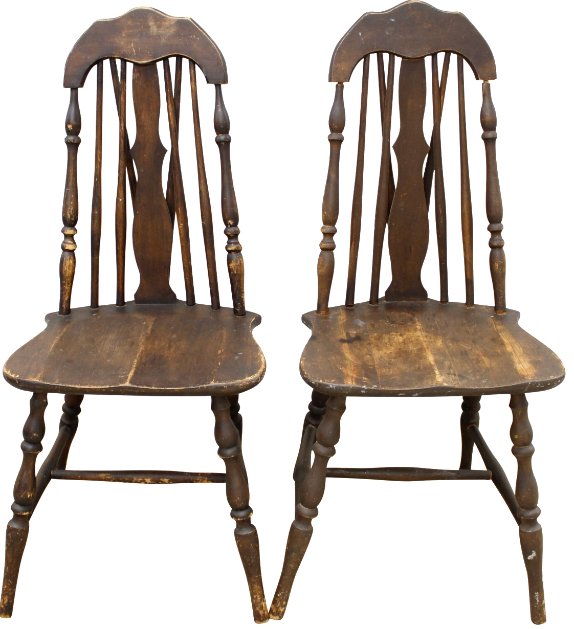 Ordinaire Antique Splat Tapered Back Windsor Chairs   A Pair