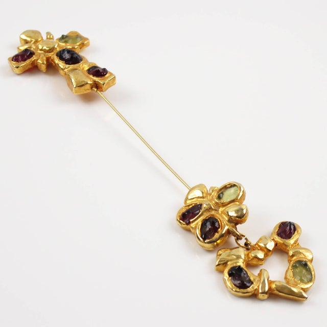 Baroque Christian Lacroix Paris Signed Long Pin Brooch Gilt Metal and Cabochon For Sale - Image 3 of 8