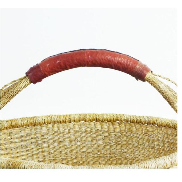 African Bolga Woven Natural Basket For Sale - Image 4 of 8
