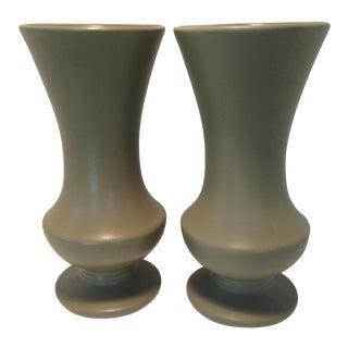 1960's Matte Green McCoy Floraline Vases - A Pair