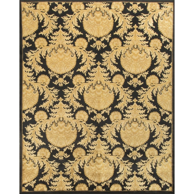 Black and Gold Hand-Knotted Wool Rug - 8' X 10' - Image 1 of 4