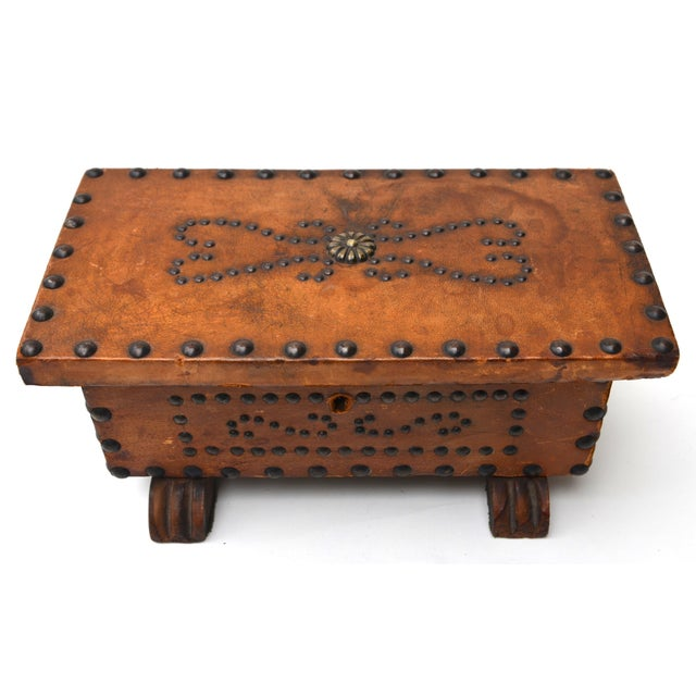 Animal Skin Old West Brass Studded Embellished Leather-Clad Small Box For Sale - Image 7 of 7