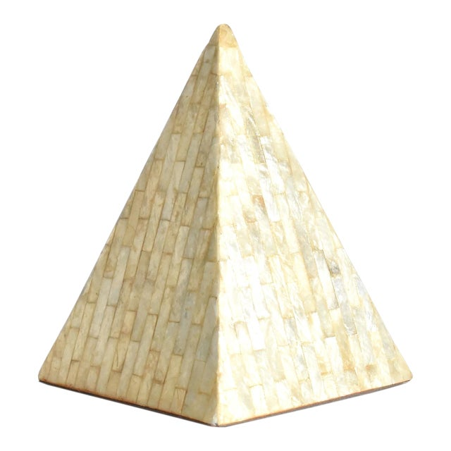 Vintage Mother of Pearl Inlaid Pyramid Curio For Sale