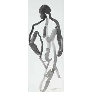 L. Lengyel Vintage 1979 Ink Wash Nude Painting For Sale
