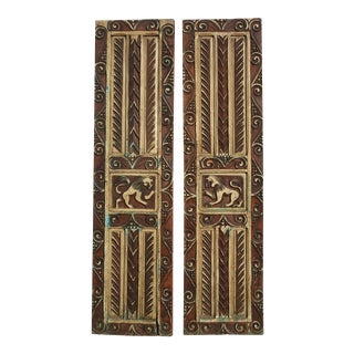 Antique Highly Carved Wood Lion Motif Panel Doors Reversible Red Oriental Asian For Sale