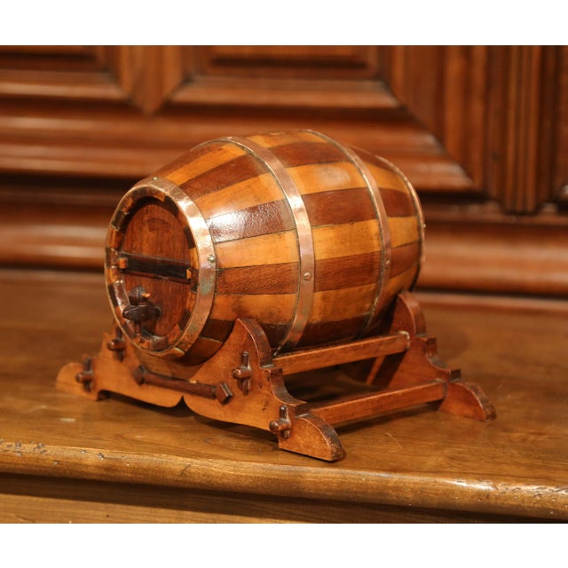 Accessorize your wet bar with this antique, decorative fruit wood and oak barrel sculpture. Crafted in Cognac circa 1930,...