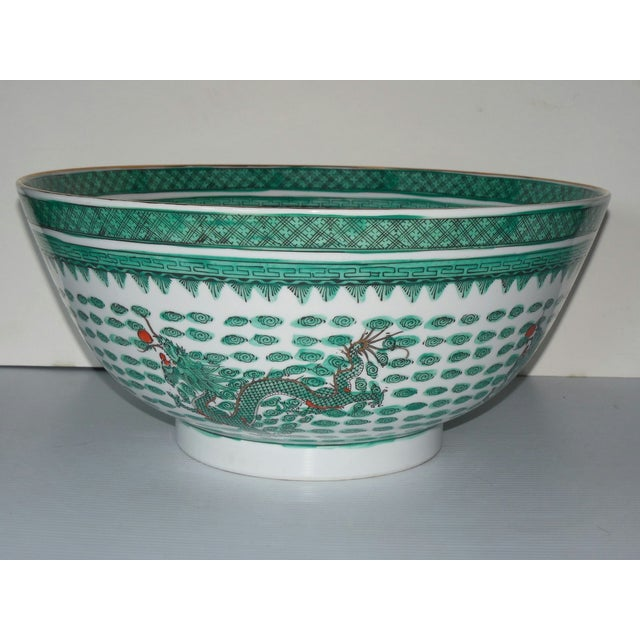 Mammoth Chinese Emerald Dragon Bowl - Image 4 of 7