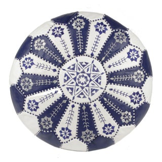 Embroidered Leather Pouf in Royal Blue/White (Stuffed) For Sale