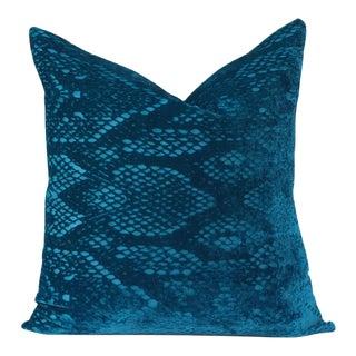 Teal Blue Snakeskin Velvet Pillow For Sale