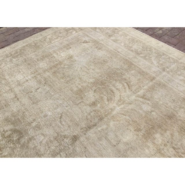 Textile Oversized Antique Distressed Hand Knotted Oushak Rug For Sale - Image 7 of 11