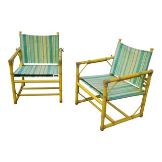 McGuire Furniture Rattan Patio Chairs - a Pair For Sale