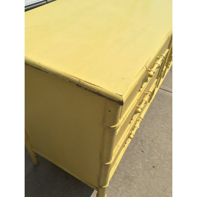 1970s Hollywood Regency Faux Bamboo Yellow Dresser by Mount Airy For Sale - Image 5 of 11