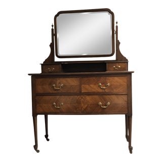19th Century English Mahogany Mirrored Vanity For Sale