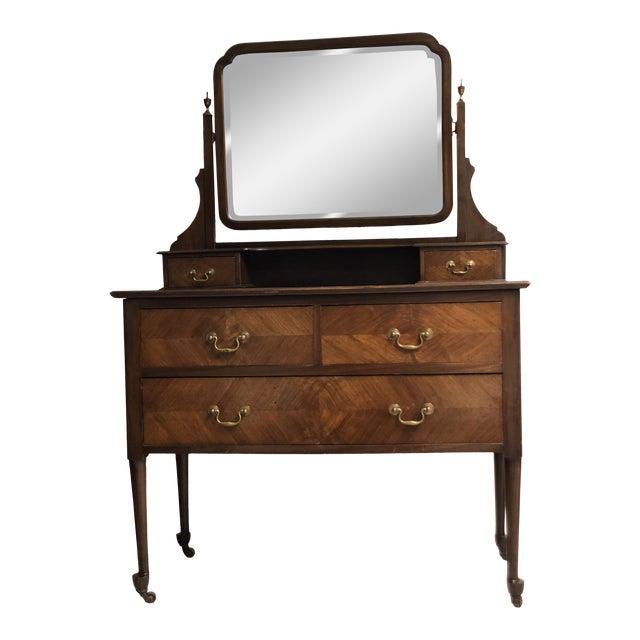 19th Century English Mahogany Mirrored Vanity For Sale