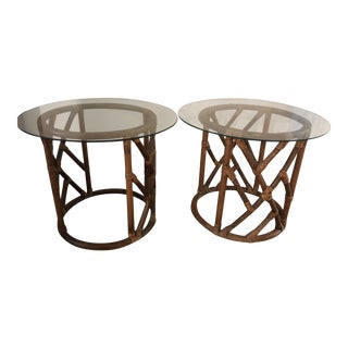 Vintage Rattan & Glass Side Tables - a Pair