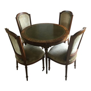 Antique French Matching Game Table with Chairs - 5 Piece Set For Sale
