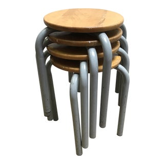 Vintage Industrial Stacking Stools S/4