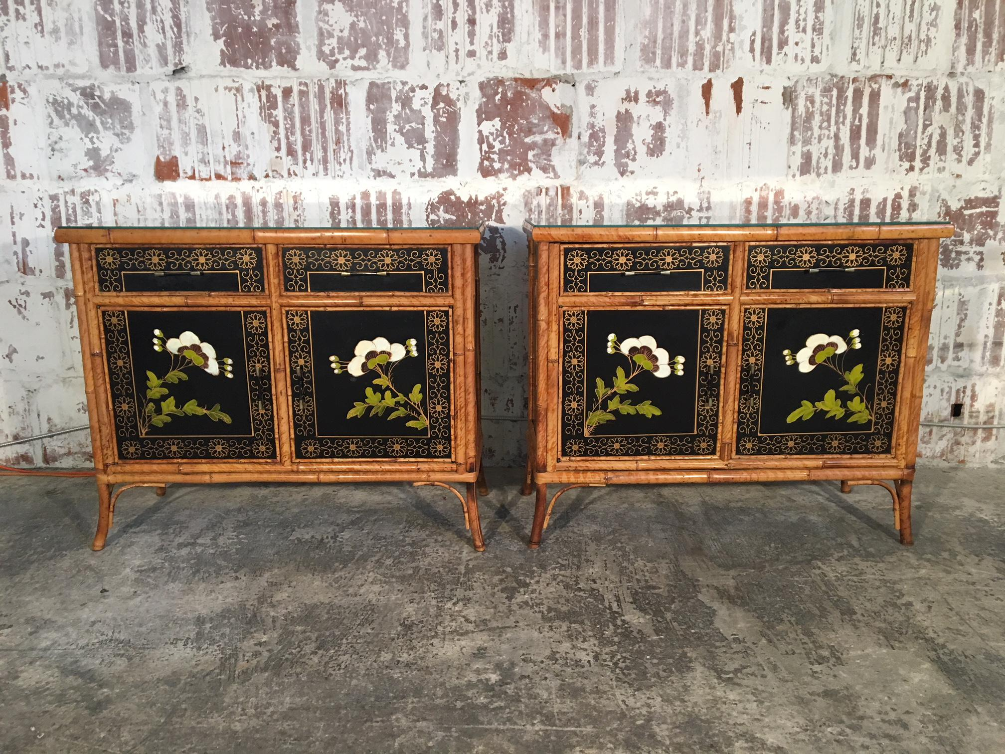Twin Asian Cabinets Feature Hand Painted Floral Scenes And Bamboo  Detailing. Dovetail Joints, Glass